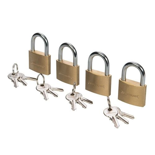 4 Pack Silverline 675152 Brass Padlock Keyed Alike 40mm